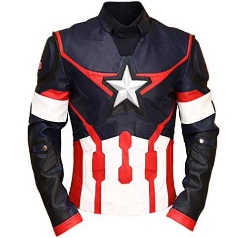 Western Fashions Capitan America Civil War Cuero Genuino Multicolor chaqueta-3xl