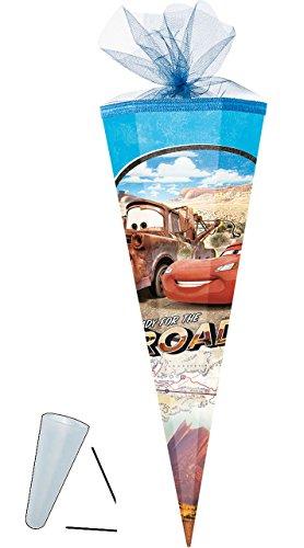 alles-meine.de GmbH Schultüte -  Disney Cars - Lightning McQueen / Road Trip  - 50 cm - rund - mit Tüllabschluß - Zuckertüte - Nestler - mit / ohne Kunststoff Spitze - für Jung..