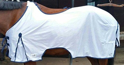 Ausreitdecke Fliegendecke z. ausreiten Fliegen Decke weiss mit Sattelausschnitt + Riemen Aussparung 135 145 155 cm Tysons (145)