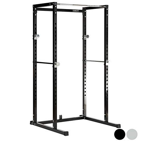 Mirafit Power Rack Weight Lifting Cage & Pull Up Bar - Black or Silver