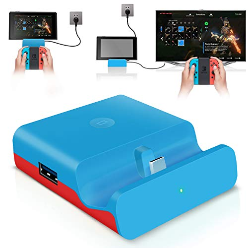 【ミニ小型・PD対応】最新Switchドック 充電スタンド (HDMI変換/TVモード/テーブルモード)最新 任天堂スイッチNintendo Switchシステム対応 4K1080P解像度 ニンテンド ポータブル USBハブスタンド Type-C ポート&USB3.0ポート搭載 切り換えボタン付き 放熱対策
