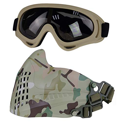 Aoutacc Máscara táctica para airsoft, paintball, media cara con gafas, apta para airsoft, paintball, CS y otras actividades al aire libre