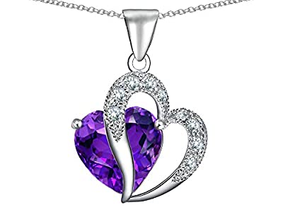 Solid 925 Sterling Silver Purple and Clear Cubic Zirconia CZ Pendant Slide 29mm x 11mm