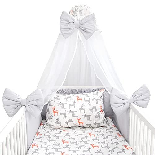 Amilian Juego de ropa de cama para bebé, 7 piezas, con protector de cuna, 100 x 135 cm, cielo, ropa de cama infantil, para bebé, ciervo, gris claro (dosel de chifón)