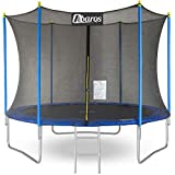 Trampoline 8ft / 10ft / 12ft / 14ft Premium garden & fitness series. Safety Enclosure with special Net, Poles, Spring Pad, Ladder and Jumping Mat -Made to Last- Jump & Bounce Outdoor Family fun