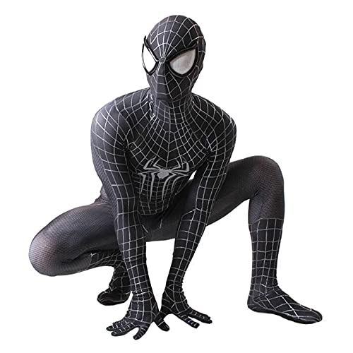 MIANslippers Spiderman Spiderman Spider-Gwen Mask Body Black Spiderman Jumpsuit Zentai 3D Impreso Super Heros Halloween Cosplay Disfraces para Hombres Niños,Black-Adult(170~175)