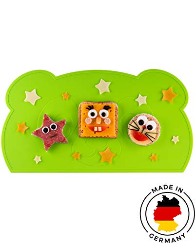 KOKOLIO® Little Panda, Kinder Tischset (Rutschfest & Abwaschbar) MADE IN GERMANY, Platzset Aus Silikon, Tischunterlage Für Babys & Kleinkinder, Malunterlage (Grün)