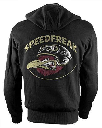 Rebel on Wheels Biker-Hoodie Motorrad-Hoodie Aramid Speedfreak Schwarz Kapuzen Jacke Motorrad L