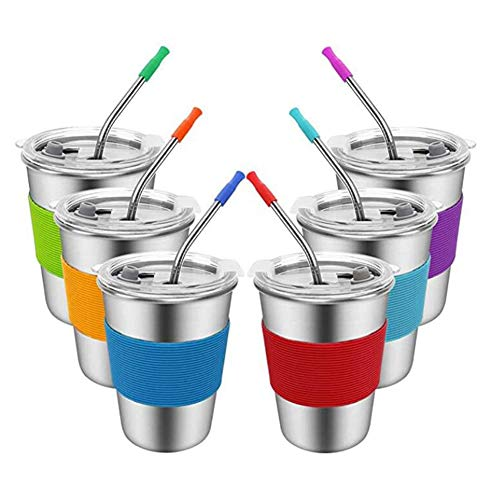 Cuasting Vasos para niños con paja y tapa a prueba de derrames, 6 vasos de acero para beber, vasos de agua irrompibles (12 oz)
