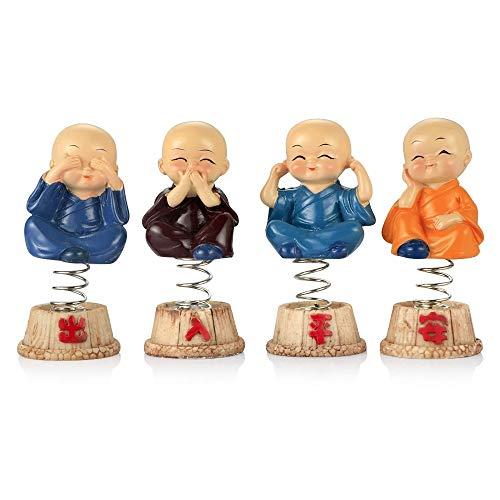 YLLYLL Car Ornaments 4PCS/Set Resin Bobble Heads Doll Decoration Monks Maitreya Buddha Figure Desk Auto Pendant Charms