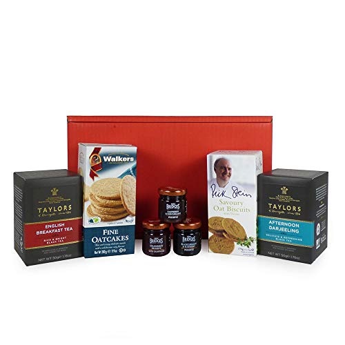 Breakfast In Bed Red Gift Box Food Hamper with Tea & Nibbles - Gift ideas for Mum, Mothers Day, Christmas, Birthday, Dad, Fathers Day, Business gifts, Corporate, Grandma, Grandad, Students