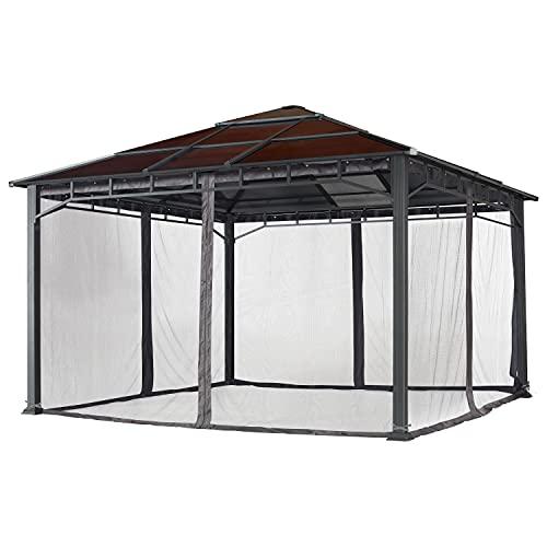 Moskitonetz für Gartenpavillons 4x4 m - Polyester - Insektengitter inkl. Haken, mit Reißverschluss - dunkelgrau