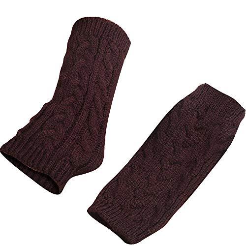 ZRXNDLS Frauen Winter warme Fingerlose Handschuhe häkeln Daumenloch Stricken Pulswärmer Handschuhe warme Mitt gestrickte Handschuhe Handgelenk,Coffee
