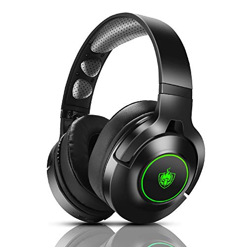 Headset PS4, Gaming Headset für Xbox One, Nintendo Switch, PC, 7.1 Bass Surround Wireless Bluetooth Headset, Kabel Gaming Kopfhörer mit Noise Cancelling Mik, Drehbar Ear Cups, LED Licht - Green