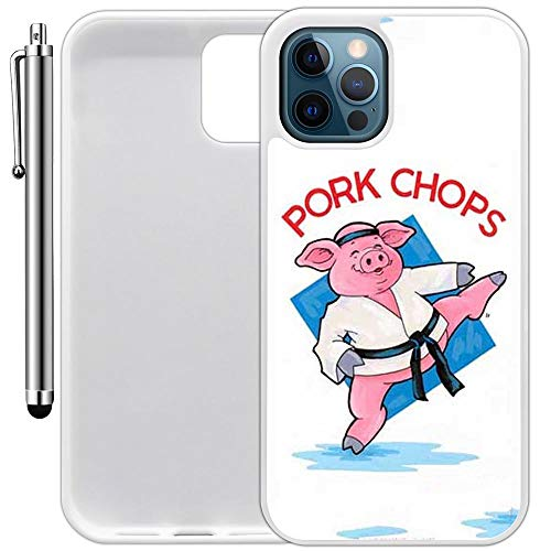 Custom Case Compatible with iPhone 12/12 Pro (6.1') (Cartoon Pork Chops) Edge-to-Edge Rubber White Cover Ultra Slim | Lightweight | Includes Stylus Pen by Innosub
