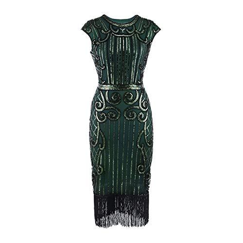 Zolimx 20er Jahre Vintage Frauen Quaste Pailletten Jugendstil verziert Fransen Flapper Kleid