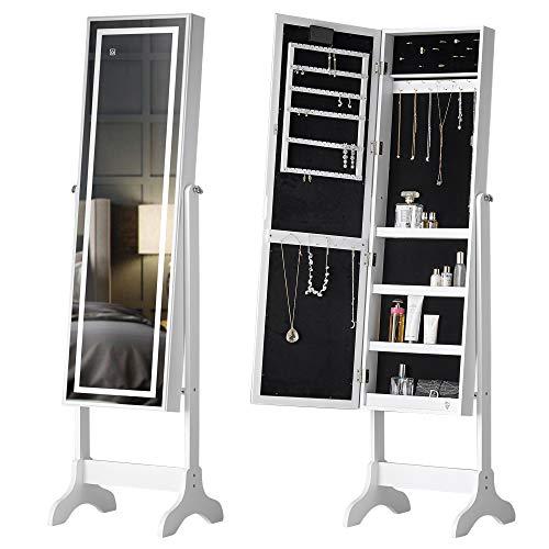 IceCreamLiving Freistehender Spiegel Schmuckschrank mit LED-Lichtern Organizer Schlafzimmer Schubladen abschließbar M042 Touch LED Weiß