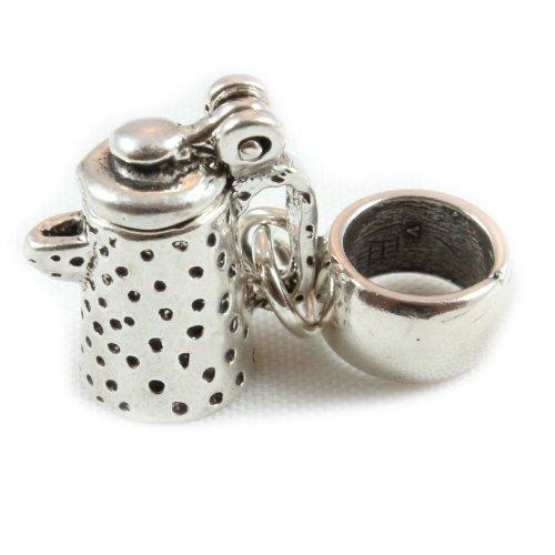 Broche de plata de ley cafetera pendientes largos con forma de cuentas de/para pulsera que se adapta a para pulsera pulseras de estilo europeo