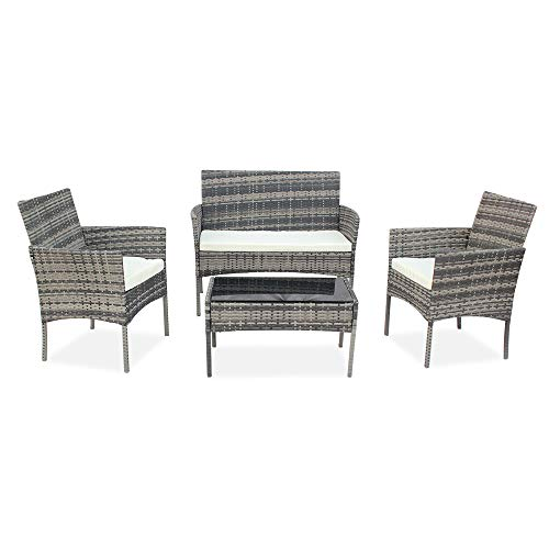 Bonnlo 4 Pieces Rattan Outdoor Garden Furniture Set Patio Conversation Set with Coffee Table, All-Weather Rattan Chair Patio Wicker Sofa Set for Yard,Pool or Backyard (Grey)