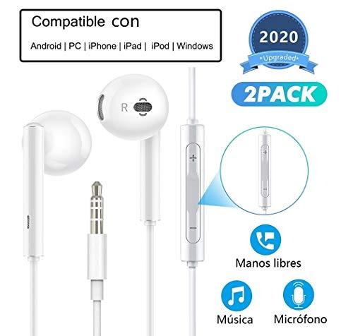 HENGHUA 2 Pack Auriculares con Micrófono 3.5 mm Auriculares con Cable en Intrauditivo Auriculares con Boton de Volumen Compatible con Samsung,Sony,LG,OnePlus,HTC,MP3/MP4 Players (Blanco)