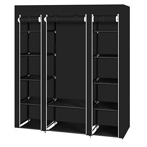 64 'armadio portatile Storage Organizer armadio appendiabiti rack con ripiani nero