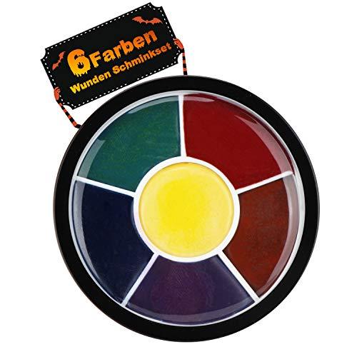 Wunden Schminkset, Horror Make-Up Set Creme, 6 Farben Bluterguss Spezialeffekt Kit,Wasserlöslich &...