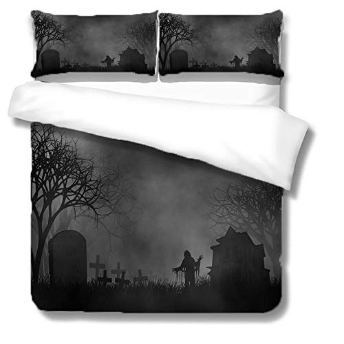 Three-piece bedding Halloween night Trendy 3D Striped Pattern 3 pieces Quilt with Zipper Duvet Cover Set King Set including Pillowcases Closure Easy Care Washable-140x200cm