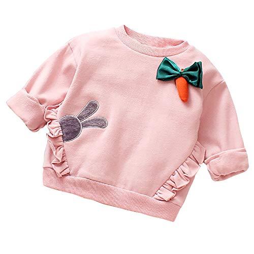 Binggong Sweat-Shirt T-Shirt Haut Pull-Over Bébé Fille Top Spot Sweatshirt Pulls Rayure Casual Mignon Cartoon Radis Imprimée Longues Manches Sweatshirt 6-24Mois