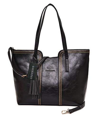 Greeniris donna borsa in pelle vintage lusso grande capacità borsa in pelle nero