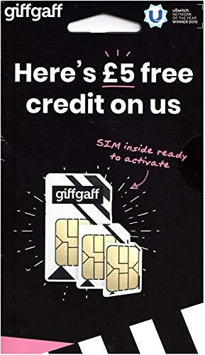 Oficial Giffgaff 3G/4G - Multi SIM - Precargados con Crédito + Adaptador...