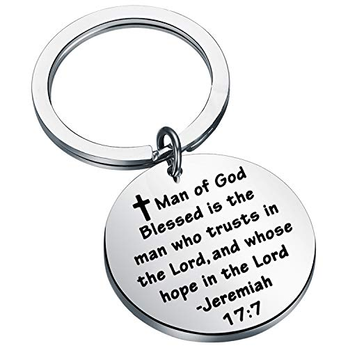 LQRI Faith Life Gift Religious Jewelry Lord's Prayer Keyring Christianity Blessed Jewelry Christian Keychain Jeremiah Keychains Gift for Catholic (k-17:7)
