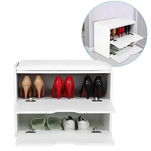 Cikonielf Taburete para Zapatos, Taburete Moderno y Elegante para Guardar Zapatos con cojín para el Pasillo de la Sala de Estar del hogar, 29.5x60x44cm
