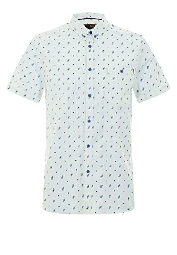 Merc of London WELOR, S/S GEO Paisley SHRT Chemise Casual, Bleu (Blue), 39 (Taille Fabricant: S) Homme