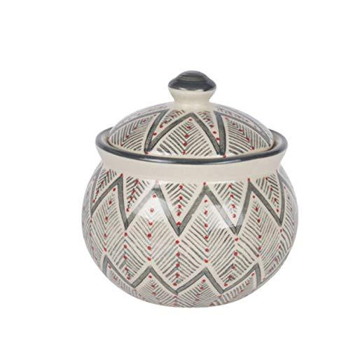 Ivory Ceramic Sugar Jar Bowl with Grey and Red Santa Fe Pattern and Lid, 4'