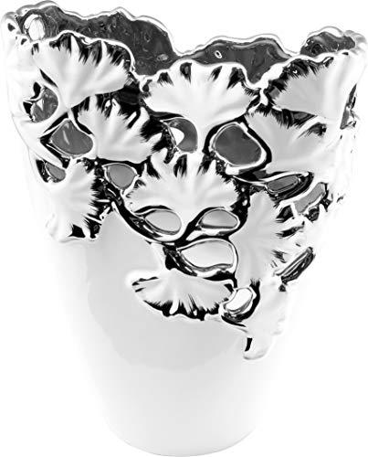 Dreamlight Moderne Dekovase Blumenvase Vase aus Keramik weiß mit silbernen Applikationen Höhe 23 cm Breite 19 cm