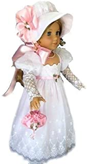 Fits 18 inch American Girl Dolls | Stunning White Victorian Christmas Colonial Wedding Christening Baptism Gown | Doll Dress Clothes Outfit (4 Piece Set)
