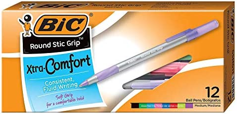 BIC Round Stic Grip Xtra-Comfort Ballpoint Pens
