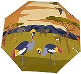 Ombrello manuale a tre pieghe Modello grafico per edifici urbani Savannah Africa Nano Ombrello pieghevole a tre dimensioni di grande diametro Protezione solare che copre sole e pioggia-Manuale