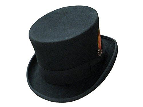 Chapeau haut-de-forme - Noir - 100 % en feutre de laine - Fabriqué à la main - Avec ruban satiné et plume - Noir - moyen