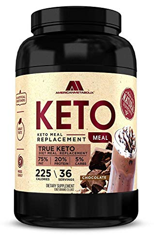 American Metabolix Keto Meal Replacement Shake with powder butter, Chocolate - low carb, high fat keto shake. Promotes weight loss Suppresses Appetite - 36 Servings