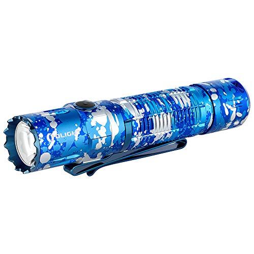 OLIGHT M2R Pro Warrior LED Linterna Militar Táctica Luz de Alta Potencia Recargable Linterna USB Lámpara Eléctrica Flashlight Impermeable 6 Modos 1800 Lúmenes 300 Metros para Hogar, Camuflaje Oceanico