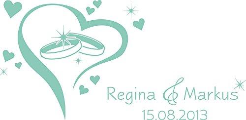 GRAZDesign muursticker gepersonaliseerd twee ringen hart - wanddecoratie wanddecoratie bruiloftsdecoratie met naam en datum / 810339 62x30cm 055, munt