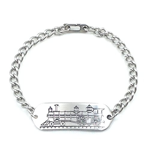MakeMeThis Locomotive ID Bracelet IDB-05 - Stainless Steel - Non Allergenic - Adult, Youth & Child Sizes