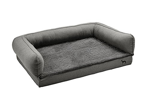 HUNTER LIVINGSTON Orthopädisches Hundesofa, Memoryschaum-Matte, rutschhemmend, M, anthrazit