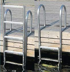 Dock Edge + Dock Ladder, 7 - Step, Slide Up, Welded- Aluminum