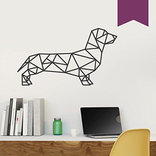 WANDKINGS Wandtattoo - Origami-Style Dackel - 110 x 63 cm - Aubergine - Wähle aus 5 Größen & 35 Farben