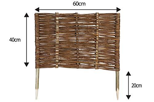Mcsammler Weide Beeteinfassung in 16 Größen Weidenzaun Rasenkante Beetbegrenzung Steckzaun imprägniert mit Buchepflöcken für leichtes Einsetzen Länge: 60 cm Höhe: 40 cm