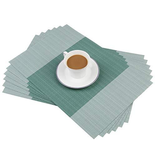 Homcomodar Manteles Individuales Manteles Individuales de plástico Aislantes Manteles Antideslizantes para Mesa de Comedor (Verde Azulado)