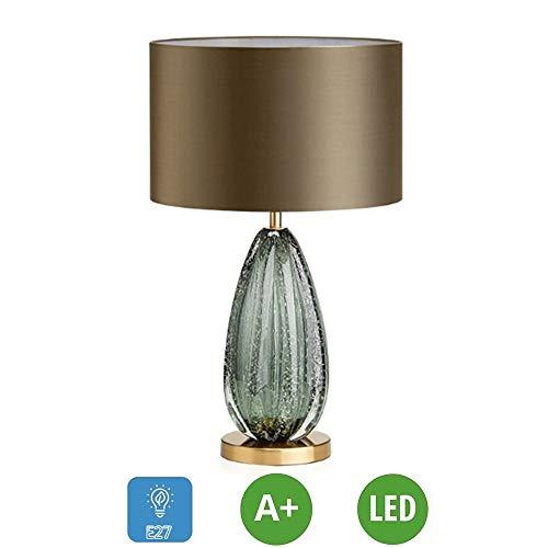 ZTKBG Moderne slaapkamer tafellamp E27 Stained donkergroen glazen dragers ronde stof lampenkap tafellamp lampen [energieklasse A +]