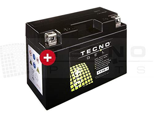 TECNO-GEL Motorrad-Batterie YT9B-4, 12V Gel-Batterie 8Ah, 150x69x105 mm inkl. Pfand